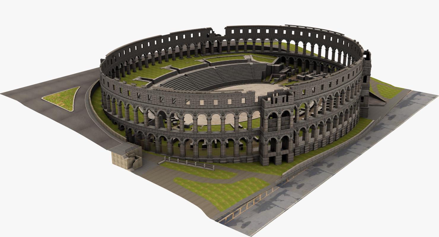 Amphitheater Pula 3d Arena turbosquid
